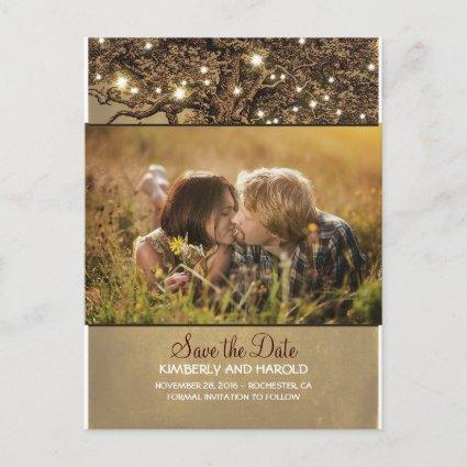 Rustic Oak Tree Photo Save the Date Announcement