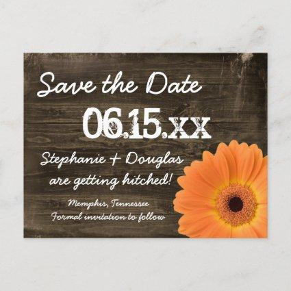 Rustic Orange Daisy Wood Save The Date Cards