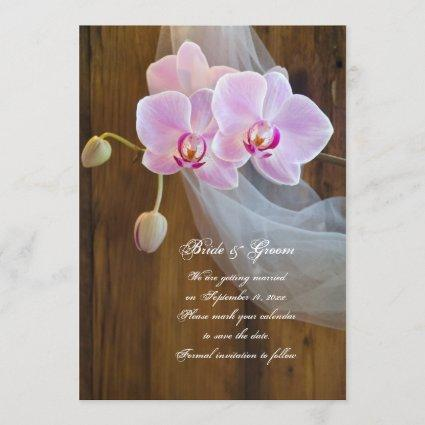 Rustic Orchid Country Wedding Save the Date