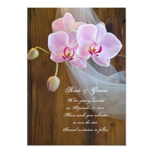 Rustic Orchid Country Wedding Save the Date 5x7 Paper Invitation Card