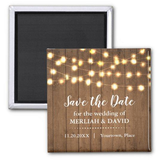 Rustic Party Lights Faux Wood Save the Date Magnet