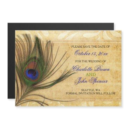 Rustic Peacock Feather wedding save the date Magnetic Invitation