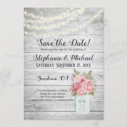 Rustic Peonies in a Mason Jar Save The Date