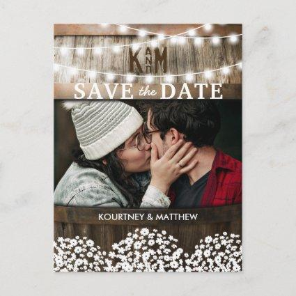 Rustic Photo Save the Date   Gypsophila Wedding Announcement