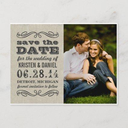 Rustic Photo Save the Date | Vintage Typography Announcement