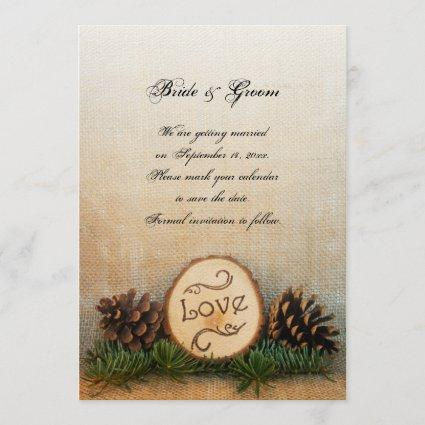 Rustic Pine Cones Woodland Wedding Save the Date
