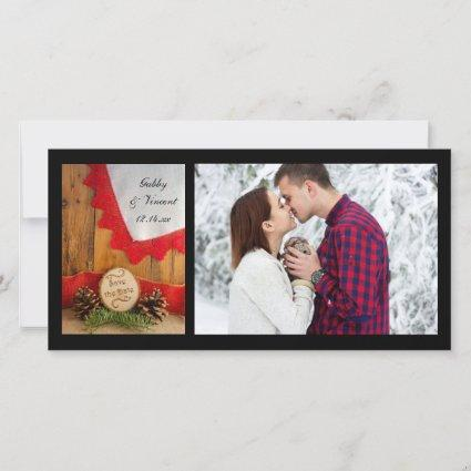 Rustic Pines Red Lace Woods Wedding Save the Date