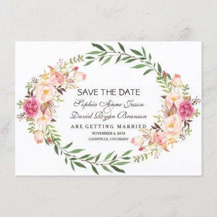 Rustic Pink Blush Floral Bloom Save The Date
