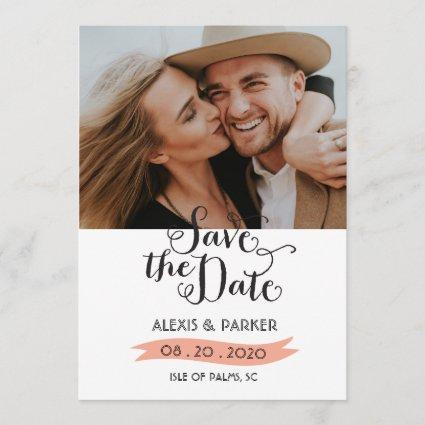 Rustic Pink Save The Date Wedding Photo