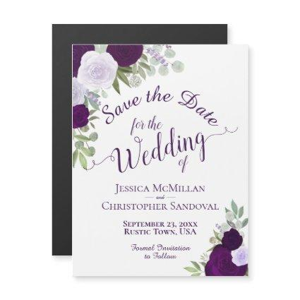 Rustic Plum Purple Floral Wedding Save the Date Magnetic Invitation