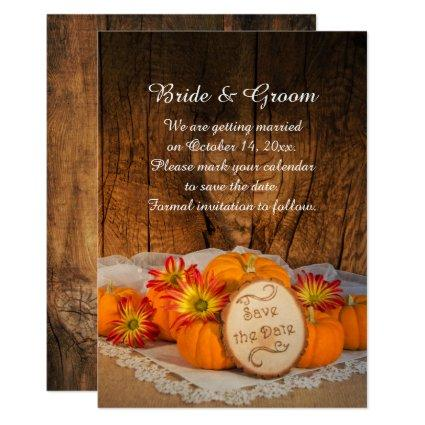 Rustic Pumpkins Fall Barn Wedding Save the Date Invitation