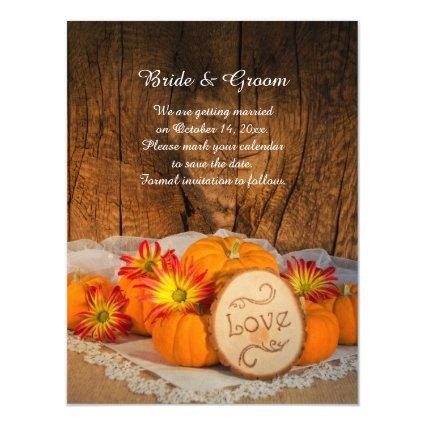Rustic Pumpkins Fall Barn Wedding Save the Date Magnetic Invitation