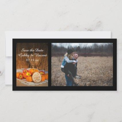 Rustic Pumpkins Fall Wedding Save the Date Photo
