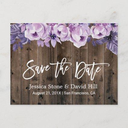 Rustic Purple Floral Barn Wedding Save the Date Announcement