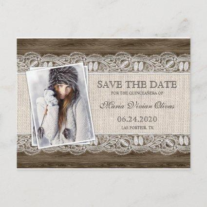 Rustic Quinceanera Photo Invitation Save The Date
