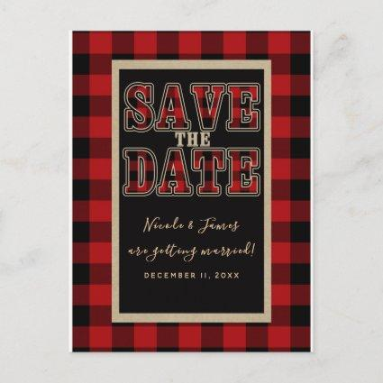 Rustic Red Black Buffalo Plaid Save the Date Announcement