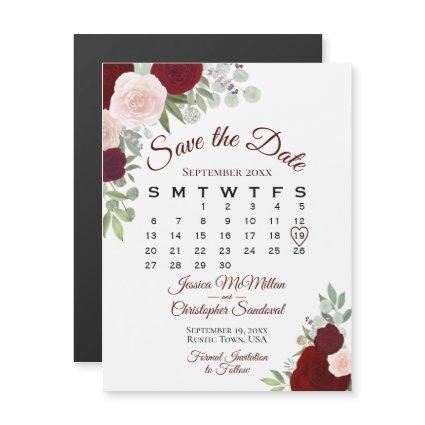 Rustic Red Floral Wedding Save the Date Calendar Magnetic Invitation