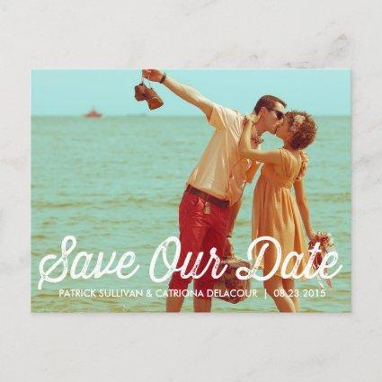Rustic Retro Typography Save the Date Cards