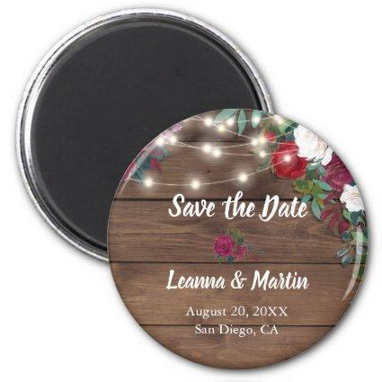 Rustic Rose Hanging Lights Wood Save the Date Magnet