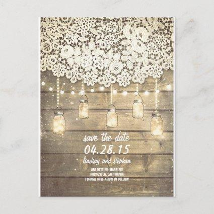 Rustic save the date announcement