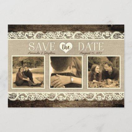 Rustic Save the Date | Barn Wood Lace and Burlap