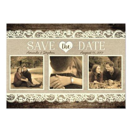 Rustic  | Barn Wood Lace and Burlap Cards