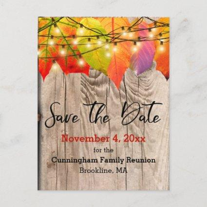 Rustic Save The Date Family Reunion Autumn Leaves Announcement