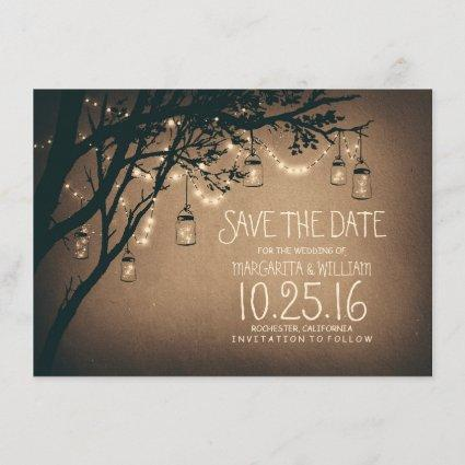 Rustic Save the Date & Fireflies Mason Jars