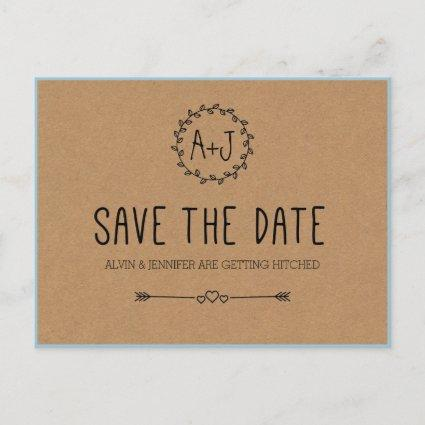 Rustic Save the Date / Kraft Paper Save the date Announcement