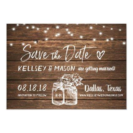 Rustic Save the Date | Mason Jars & String Lights Invitation