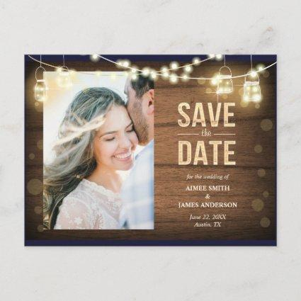 Rustic Save the Date Cards String Lights Wood