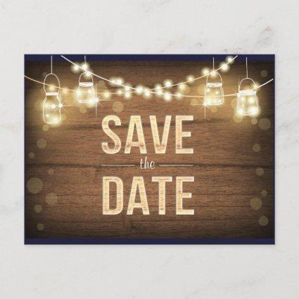 Rustic Save the Date String Lights Mason Jars Wood Announcement