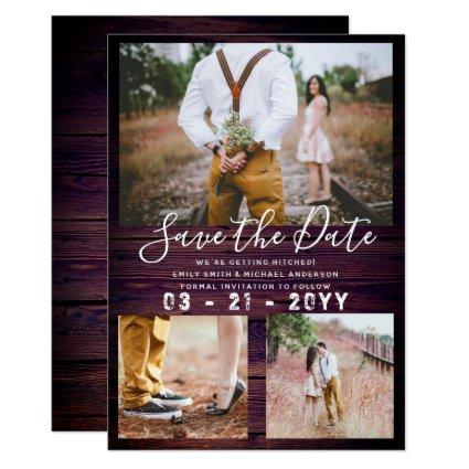 RUSTIC Save the Date Wedding PHOTO COLLAGE Purple Invitation