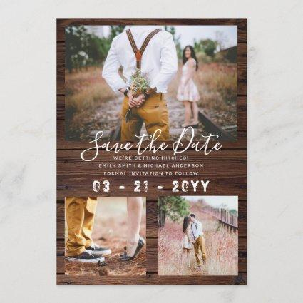 RUSTIC Save the Date Wedding PHOTO COLLAGE - Wood Invitation