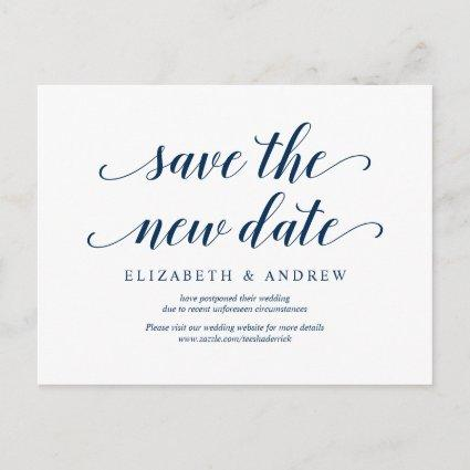Rustic, Save the new date, Navy blue, postponed
