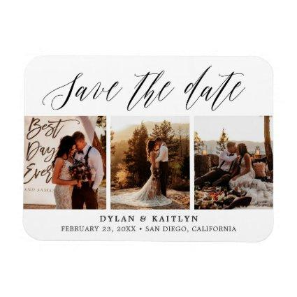 Rustic Script Three Photos Save the Date Magnet