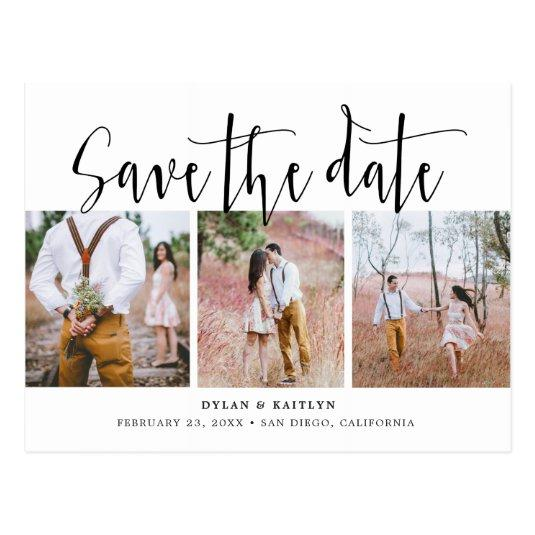 Rustic Script Three Photos Save the Date Cards