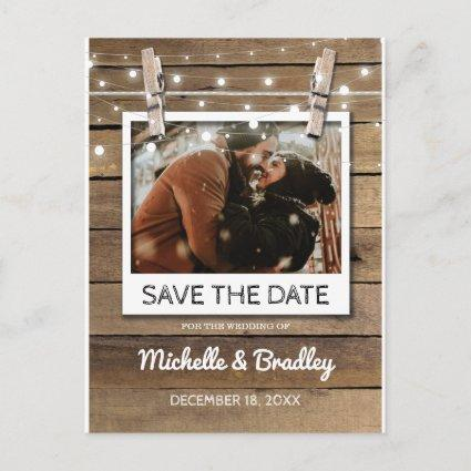 Rustic Selfie Photo Fairy Lights Save the Date Announcement