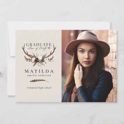 Rustic stag and floral graduate photo announcement