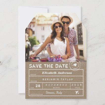 Rustic Stamp Destination Wedding Luggage Tag Photo Save The Date