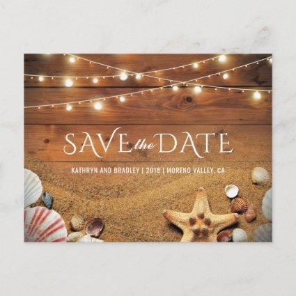 Rustic Starfish Beach Tropical Save the Date Announcement