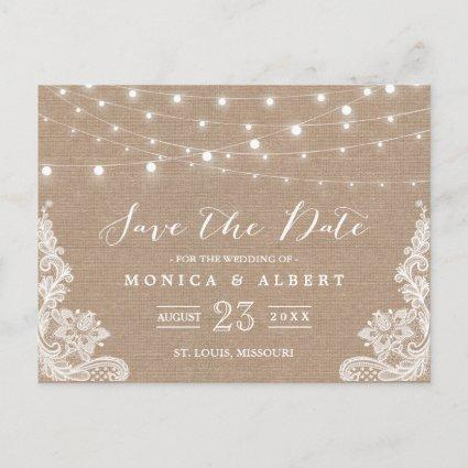 Rustic String Lights Burlap Lace | Save the Date Announcement