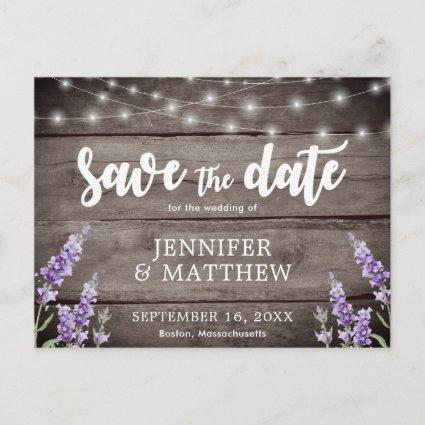 Rustic String Lights Flowers Wedding Save The Date Announcement