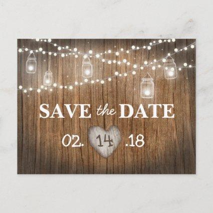Rustic String Lights Mason Jar Wood Save the Date Announcement