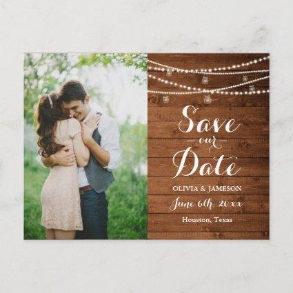 Rustic String Lights Save the Date Announcement