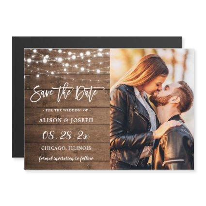 Rustic String Lights Save the Date Magnetic Card