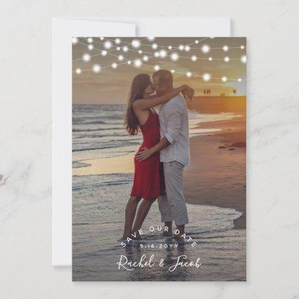 Rustic String Lights Wedding Save the Date Photo