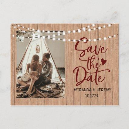 Rustic String lights wood Photo save the date Post