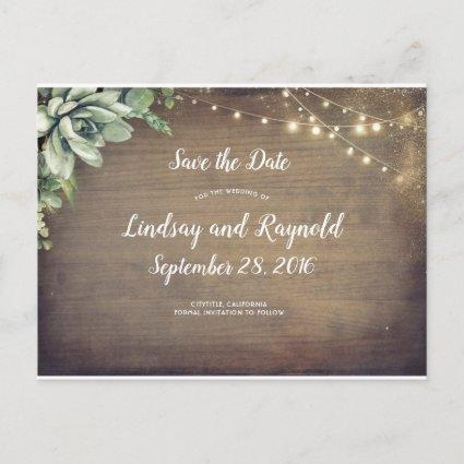 Rustic Succulents Greenery Save the Date Announcement