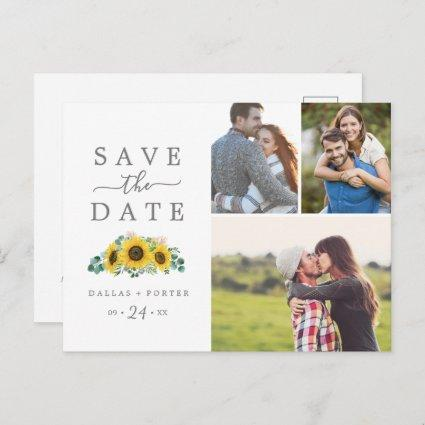 Rustic Sunflower 3 Photo Collage Save the Date Invitation